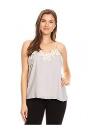 Anna-Kaci Women's Casual Loose Fit Floral Crochet Lace Trim Adjustable Tank Top Camisole - My look - $29.99