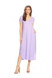 Anna-Kaci Women's Casual Loose V-Neck Pocket Short Sleeve Side Split Long Dress - My look - $43.99