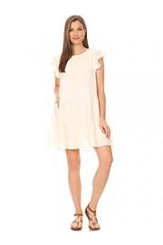 Anna-Kaci Women's Casual Pleated Solid Tunic Ruffle Hem Flowy Summer Mini Dress - My look - $42.99