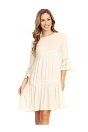 Anna-Kaci Women's Casual Semi Sheer Bohemian Crochet Lace Flounce ¾ Bell Sleeve Flowy Mini Dress - My look - $29.99