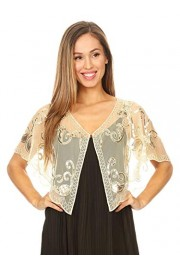 Anna-Kaci Women's Evening Cape Sequin Deco Paisley 1920s Shawl Flapper Cover up - My look - $29.99