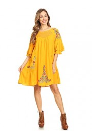 Anna-Kaci Women's Floral Embroidered Bell Sleeve Tunic Crochet Accent Mini Dress - My look - $55.99