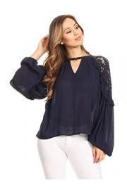 Anna-Kaci Womens Lace Cold Shoulder Long Lantern Sleeve Choker Ruffle Blouse Top - My look - $39.99