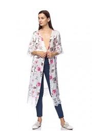 Anna-Kaci Womens Lace Flower Embroidered Loose Half Sleeves Long Kimono Cardigan - My look - $22.99
