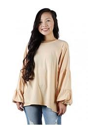 Anna-Kaci Womens Long Lantern Sleeve Soft Loose Casual Boxy Blouse Shirt Tops - My look - $39.99