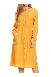 Anna-Kaci Women's Long Sleeve Round Neck Button Down Pockets Swing Skater Dress - My look - $39.99