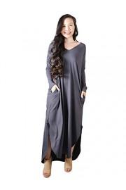 Anna-Kaci Women's Loose Long Sleeve Side Split V Neck Casual Pockets Maxi Dress - My look - $42.99