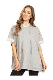 Anna-Kaci Womens Oversized Short Sleeve Hoodie Side Slits Pullover Sweater Top - My look - $33.99