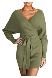 Asskdan Women's Batwing Long Sleeve Sexy V Neck Bodycon Sweater Dress Backless Pencil Dresses Belt - Myファッションスナップ - $35.99  ~ ¥4,051
