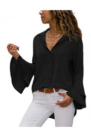 Asskdan Women's Blouse V-Neck Ruffle Bell Sleeve Casual Loose Shirt Tops Button Down Blouse - Il mio sguardo - $23.99  ~ 20.60€