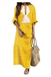 Asskdan Women's Boho Kaften Long Sleeve Cotton Linen Dress Plain Casual Loose Maxi Dress Pocket - Il mio sguardo - $39.99  ~ 34.35€