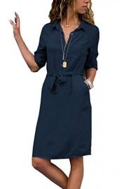Asskdan Women's Casual Shirt Dress 3/4 Sleeve Buttons V Neck Loose Midi Dress Tunic Dress Summer Beach with Belt - Il mio sguardo - $29.99  ~ 25.76€