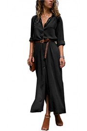 Asskdan Womens Casual V Neck 3/4 Sleeves Button Down Casual Long Maxi Dresses Split Shirt Dress - Il mio sguardo - $29.99  ~ 25.76€