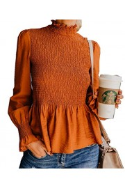 Asskdan Women's Elegant Long Lantern Sleeve Ruffle Hem Top Blouse Mock Neck Slim Fit Peplum Top - Il mio sguardo - $27.99  ~ 24.04€