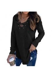 Asskdan Women's Lace Up V-Neck Sweatshirt Long Sleeve Crop Top Pullovers Blouse Shirt - Myファッションスナップ - $27.99  ~ ¥3,150