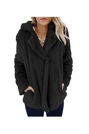 Asskdan Women's Lapel Long Sleeve Fuzzy Jacket Coat Warm Fuzzy Fleece Cardigan Faux Shearling Coat with Pockets - Il mio sguardo - $36.99  ~ 31.77€