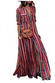 Asskdan Women's Long Boho Maxi Bohemian Dress Striped Multicolor Loose Button V-Neck Dress Beach Holiday Party - Il mio sguardo - $33.99  ~ 29.19€