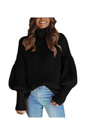 Asskdan Women's Long Lantern Sleeve Turtleneck Loose Oversize Knit Sweater Pullover Jumper - Myファッションスナップ - $35.99  ~ ¥4,051