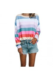 Asskdan Women's Long Sleeve Blouse Rainbow Color Stripe Crew Neck Pullover Sweatshirts Loose T-Shirt Tops Sweaters - Il mio sguardo - $27.99  ~ 24.04€