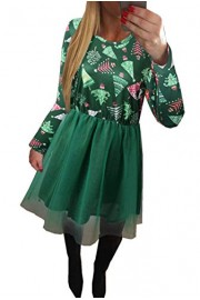Asskdan Women's Long Sleeve Christmas Dress Xmas Tree Santa Claus Print Tutu Tulle Dress - Il mio sguardo - $29.99  ~ 25.76€