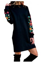 Asskdan Women's Long Sleeve Sweatshirt Jumper Embroidered Tunic Dress Loose Fit Casual Pullover Mini Dress - Myファッションスナップ - $29.99  ~ ¥3,375