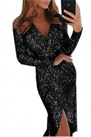Asskdan Women's Long Sleeve V-Neck Bodycon Split Shiny Party Cocktail Prom Evening Dress - Il mio sguardo - $39.99  ~ 34.35€