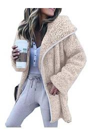 Asskdan Women's Solid Oversized Hooded Faux Fur Fluffy Overcoat Cardigan Coat Jacket Outwear - Myファッションスナップ - $32.99  ~ ¥3,713