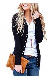 Asskdan Women's Striped Snap Button Cardigans Front V Neck Knitwear Long Sleeve Ribbed Cardigan Sweater - Myファッションスナップ - $28.99  ~ ¥3,263