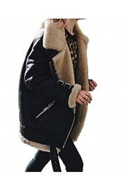 Asskdan Women's Winter Warm Faux Suede Jacket Coat Zipper Up Open Front Lapel Coat Outwear - Myファッションスナップ - $49.99  ~ ¥5,626