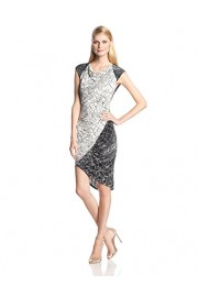 BCBGMAXAZRIA Women's Tiffanie Print-Blocked Dress with Side Shirring - My时装实拍 - $97.23  ~ ¥651.47