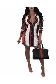 BIUBIU Women Polo Neck Long Sleeve Button Aztec Printed Shirt Dress S-3XL - My look - $43.98
