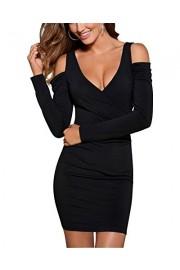 BIUBIU Women's Cold Shoulder V Neck Long Sleeve Bodycon Club Party Dress S-XL - My look - $35.98