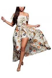 BIUBIU Women's Off Shoulder Floral Rayon Party Split Maxi Romper Dress S-3XL - My look - $49.99