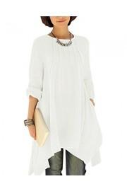 BIUBIU Women's Plus Size Long Sleeve Cotton Linen Irregular Shirt Dress S-4XL - My look - $45.98