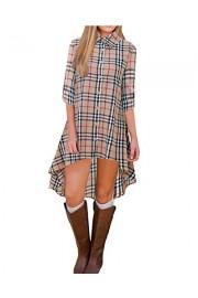 BIUBIU Women's Roll Sleeve Plaid Button up Long Blouse Tunic Tops High Low Dress - My look - $79.99