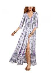 BIUBIU Women's Roll Sleeve V Neck Button up Split Floral Party Long Maxi Dress - My look - $79.99
