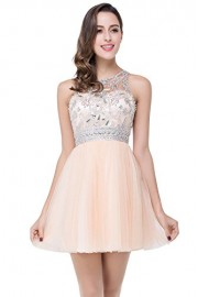 Babyonline Crystals Beads Womens Cocktail Dresses Short Mesh Backless Prom Dress - Моя внешность - $59.99  ~ 51.52€