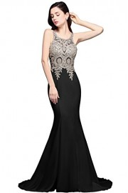 Babyonline Sexy Sheer Mesh Lace Appliques Mermaid Evening Dress Long Formal Gown - Моя внешность - $64.99  ~ 55.82€