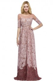 Babyonline Women's Retro See Through Floral A-line Lace Evening Party Long Dress - Моя внешность - $79.99  ~ 68.70€
