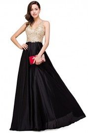 Babyonlinedress Babyonline V Neckline A-Line Backless Long Black and Gold Evening Dresses - Моя внешность - $47.99  ~ 41.22€