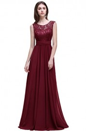 Babyonlinedress Babyonline Women's Sleeveless Lace Chiffon Long Evening Gowns Bridesmaid Dress - Моя внешность - $44.99  ~ 38.64€