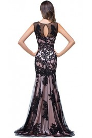 Babyonlinedress Scoop Neck Mermaid Black Lace Applique Evening Prom Dress - Моя внешность - $75.99  ~ 65.27€