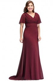 Babyonlinedress V-Neck Ruffle Sleeve Mermaid Plus Size Bridesmaid Dresses - Моя внешность - $45.99  ~ 39.50€