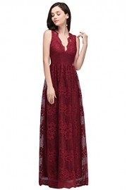 Babyonlinedress Women's Casual V-Neck Slim Retro Floral Lace Formal Long Dresses - Моя внешность - $31.99  ~ 27.48€