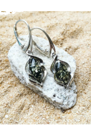 Baltics Green Amber earrings, sterling s - My photos -