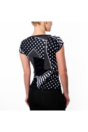 Black And White Polka Dots Geo Print Sli - Catwalk - $46.00