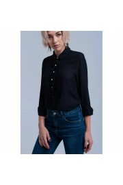 Black Crew Neck Long Sleeve Blouse - Myファッションスナップ - $92.00  ~ ¥10,354
