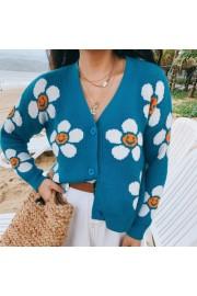Blue smiley sun flower V-neck short knit - My look - $29.99