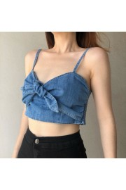 Bow Tie Zipper Hipster Retro Backless Denim Sling - My look - $28.99