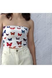 Butterfly Print Flat Strapless velvet To - My时装实拍 - $17.99  ~ ¥120.54